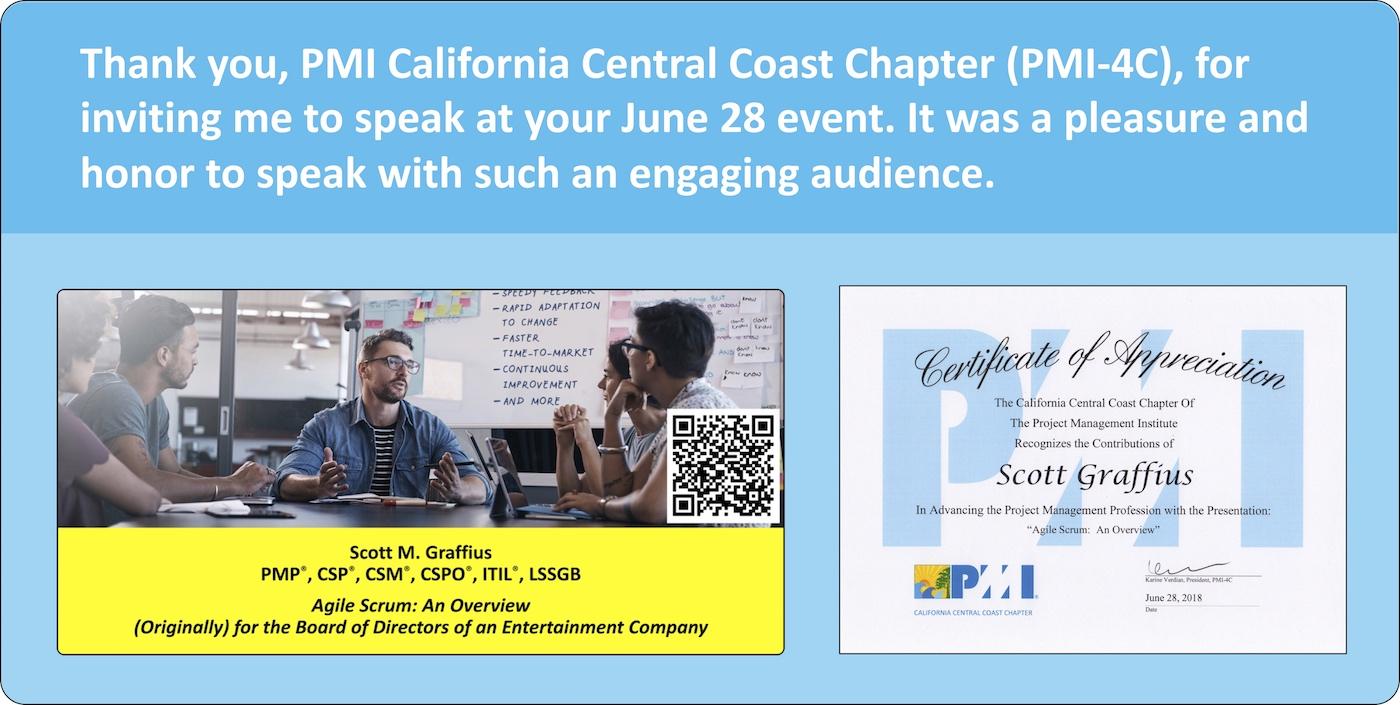 Speaker At PMI 4C Event On June 28, 2018